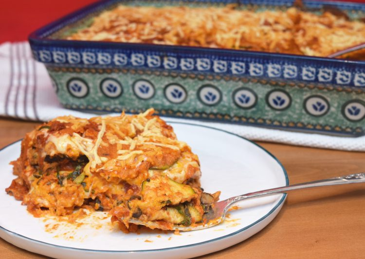Eggplant Courgette Tomato Shiitake Bake… and it's vegan, to boot!