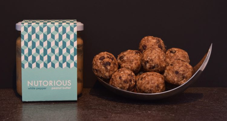 Nutorious White Pepper Peanut Butter and Chocolate Chip Energy Bites