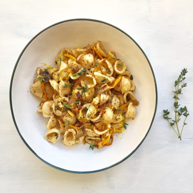 Caramelized Onion and Softened Chanterelles with Orechiette from Casa Sabatelli