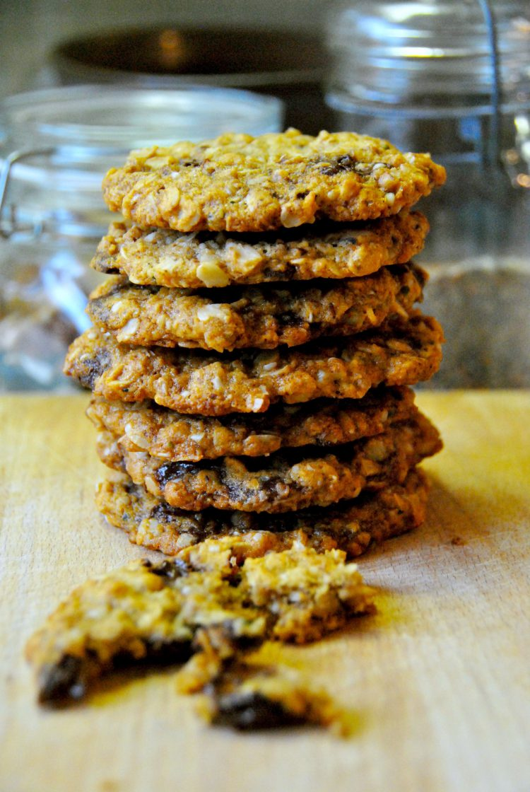 Donna Hay's Anzac Day Cookies with a side of Chocolate Chips (gluten free)