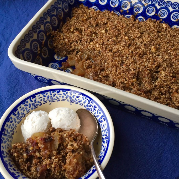Pear, Apple, and Date Crumble with Toasted Walnuts and Brazil Nuts
