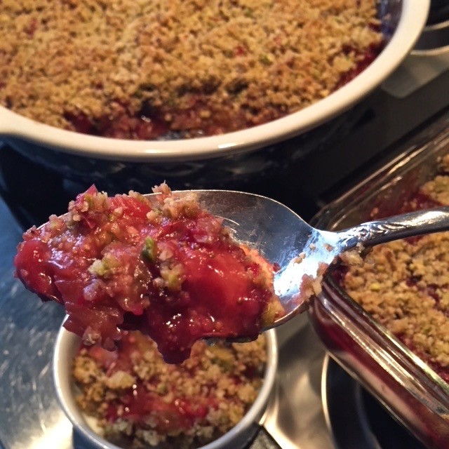 Rhubarb, Strawberry, Blueberry Crumble, Vegan and Gluten Free