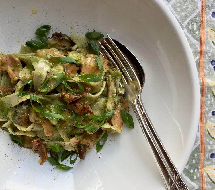 Tagliatelle with Basil Pesto, Avocado, Sundried Tomatoes, Salmon, and Shiitakes