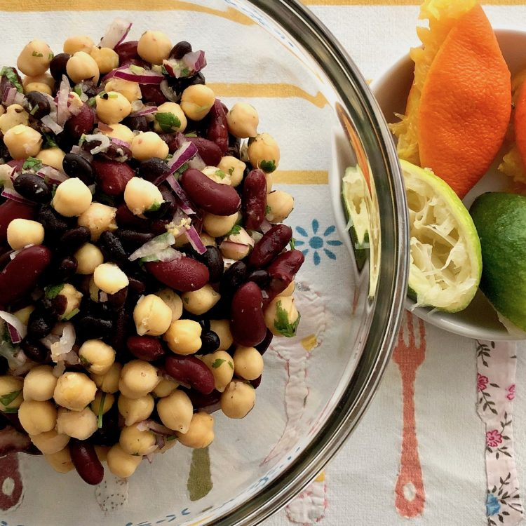 Three Bean Salad with a Sassy Citrus Dressing