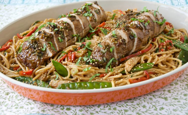 Asian Noodles with Roasted Pork Loin