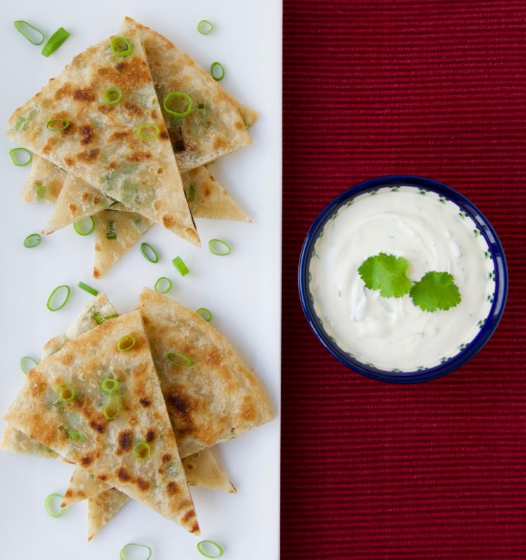 Scallion Pancakes with a Coconut Yogurt, Coriander, and Lime Dip