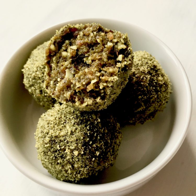Matcha, Walnut, and Pumpkin Seed Energy Bites