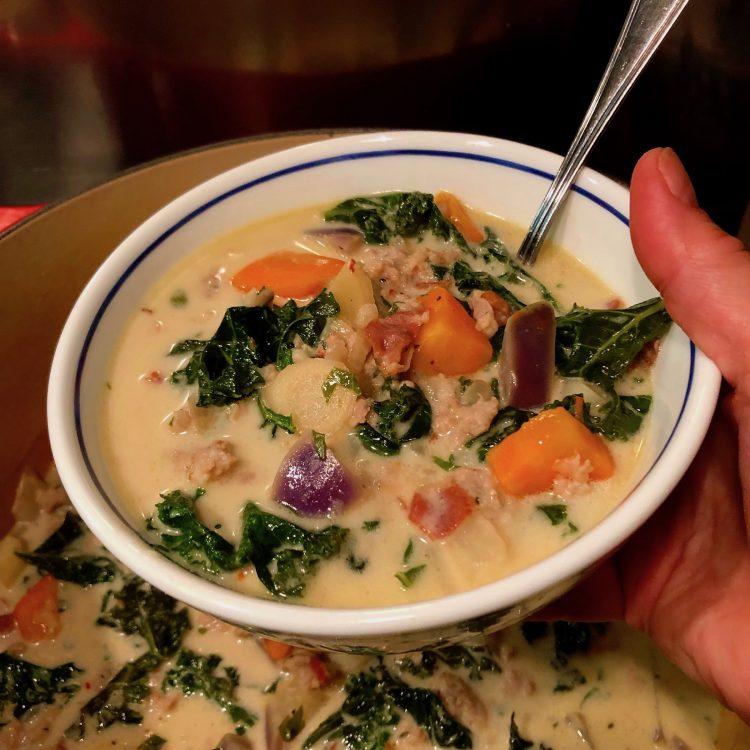 Autumn Veg: Kale, Carrot, Parsnip, Kohlrabi, and Coconut Soup