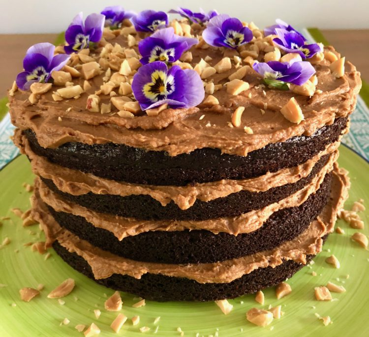 Chocolate Cake with Whipped Salted Caramel Ganache Frosting!