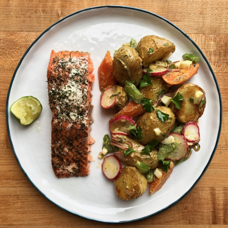 German-style Potato Salad with a side of Lime-y Salmon