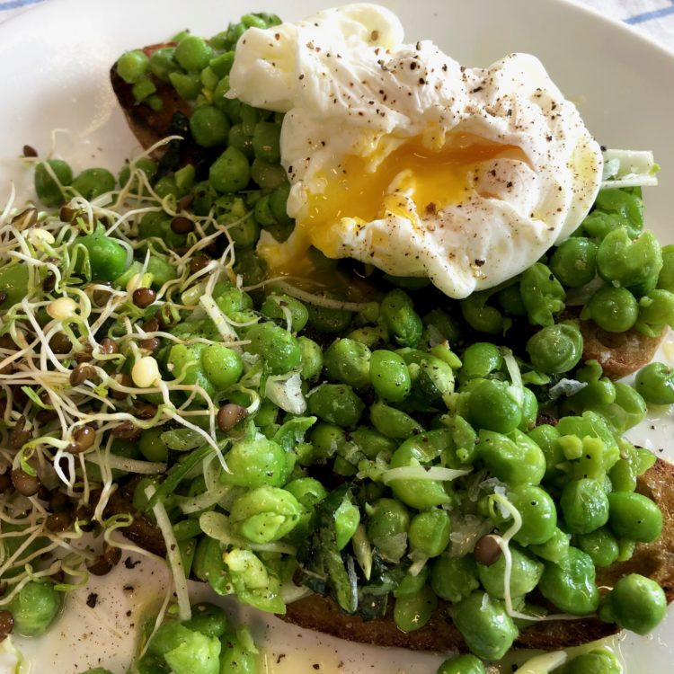 English Peas, Scallions, and Mint on Toast